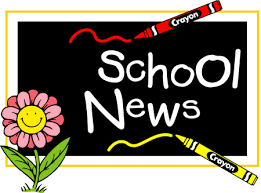 Image with words School News with crayons and a flower