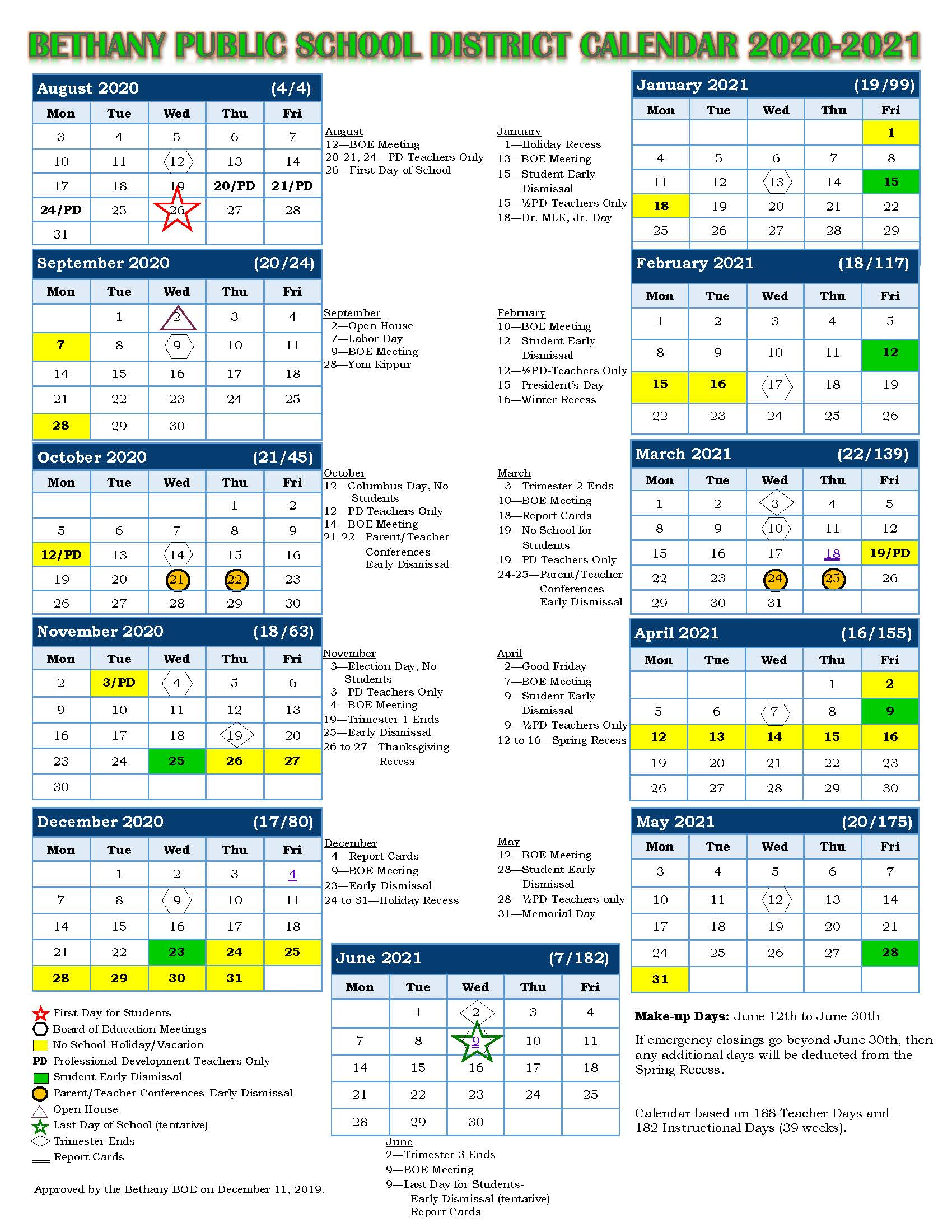 Bethany Public School District Calendar 2020-2021
