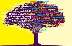 Image of a large tree with words in different languages transposed over it