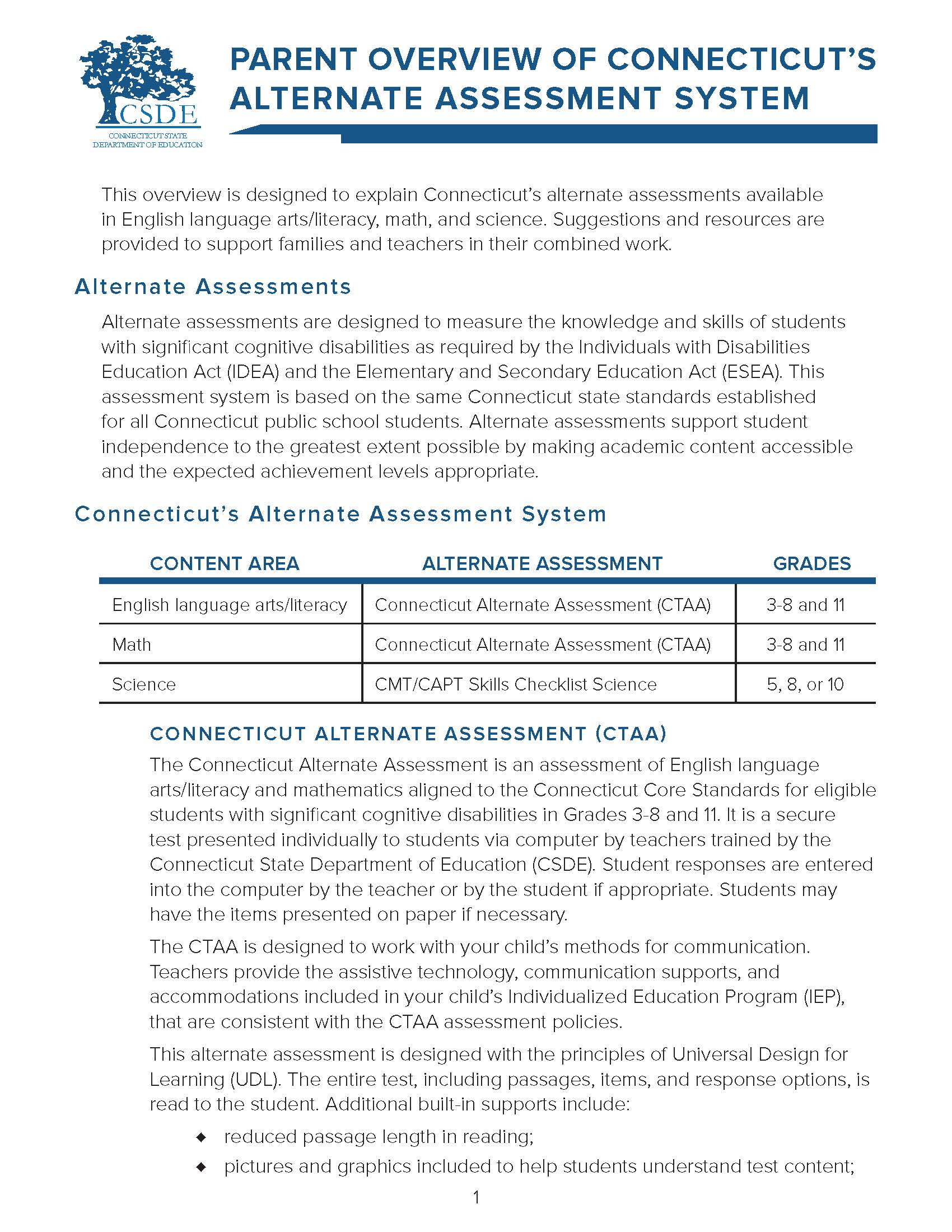 Image of Parent Overview of Connecticut's Alternate Assessment System Document