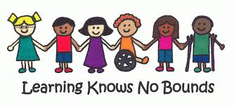 Image of differently abled children holding hands with the words Learning Knows No Bounds underneath image