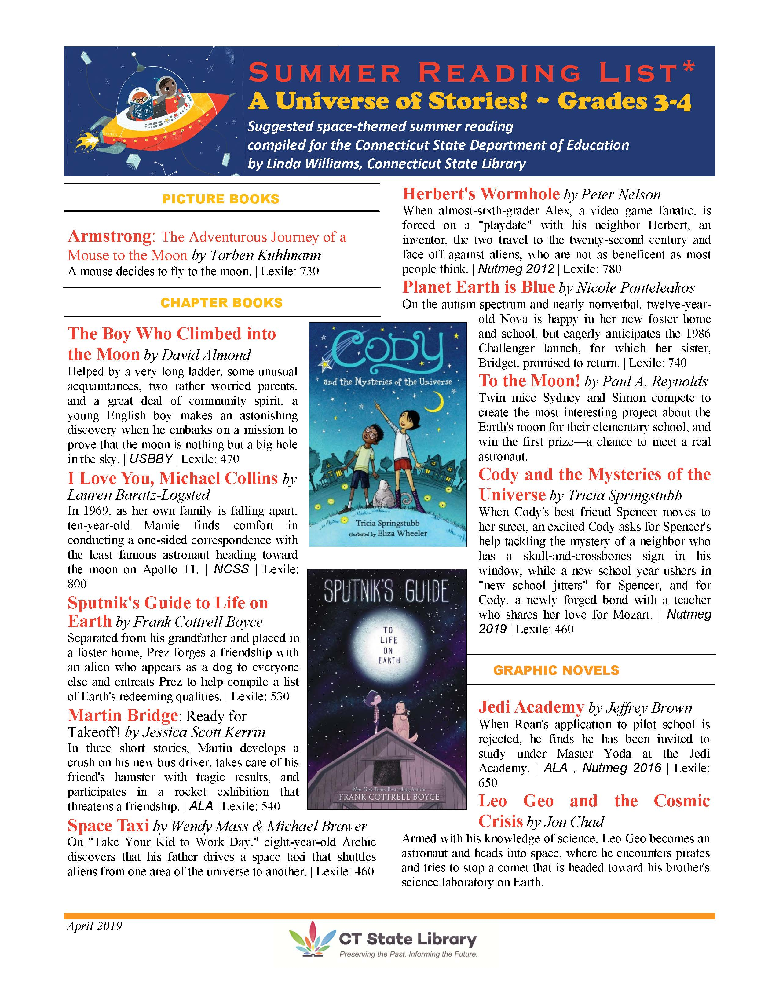Image of Summer Reading List for Grades 3-4
