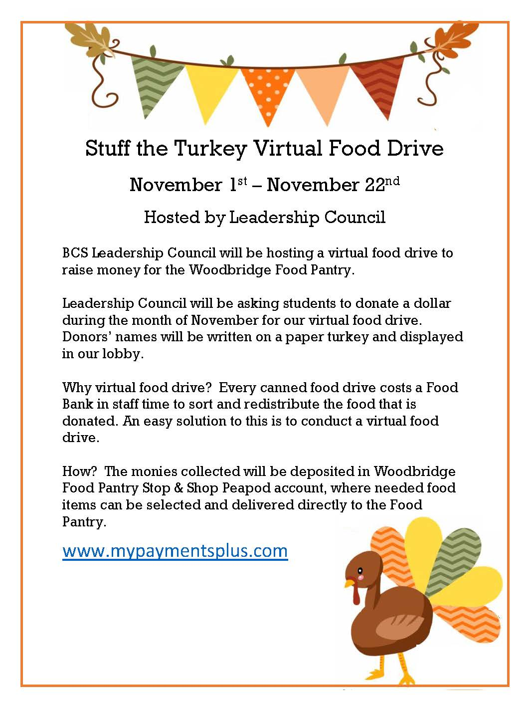 BCS Leadership Council Stuff the Turkey Virtual Food Drive Information