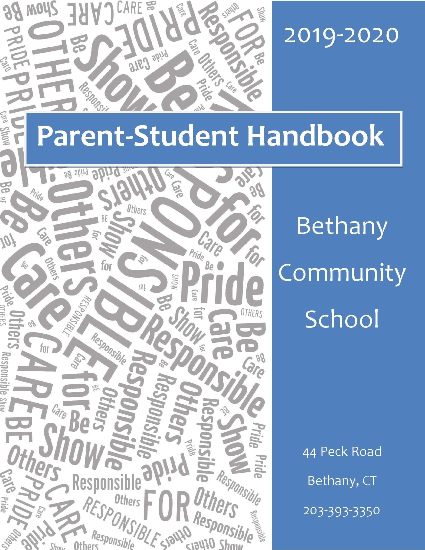 Image of the cover of the 2019-2020 Parent-Student Handbook